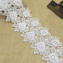 Golden Knit 9cm Width White Guipure Lace Trim for Prom Dress 98525#