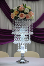 wedding decoration flower stand/crystal acrylic bead strand lighted pillar flower stand /acrylic flower stand