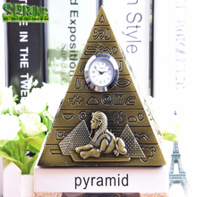 Egypt Pyramid Model Decoration Creative Desktop Decoration Decoration Retro Vintage Metal <strong>Crafts</strong> With Clock