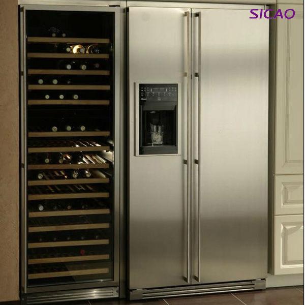 168 flessen dual zone wijnkelder koelkast zwarte kast met roestvrij stalen deur links rechts - Roestvrijstalen kast ...