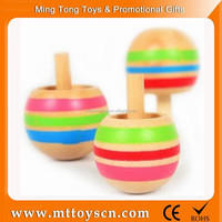 Wooden mini sizes kids spinning top toy