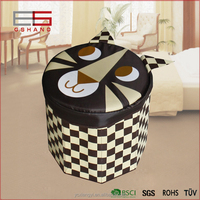 Foldable Storage Cube/Ottoman/Foot Stool,Cat Design,coffee