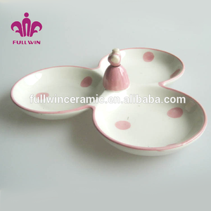 lovely design hand painted wholesale OEM welcome ballet design pink ceramic 3 section bowl,ceramic ballet 3 compartment bowl