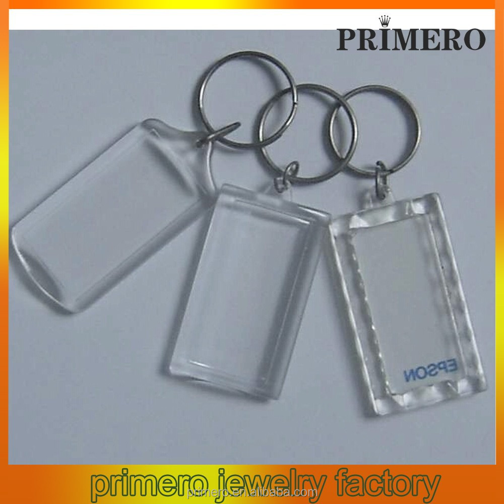 PRIMERO fashion Customizable car key chains Transparent Keychain Blank plastic key chain blank acrylic key chains