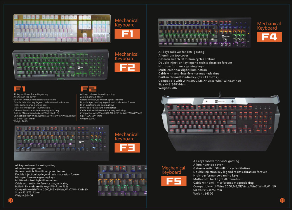 New OEM/ODM Real Mechanical Keyboard with RGB backlit, Metal Panel with Bi-color injection keycap waterproof keyboard