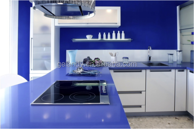 blue purple pink quartz stone kitchen countertops