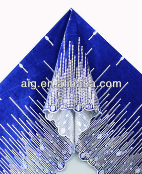 African Velvet Lace Fabric, Velvet Lace with sequins ,5984 ROYAL BLUE