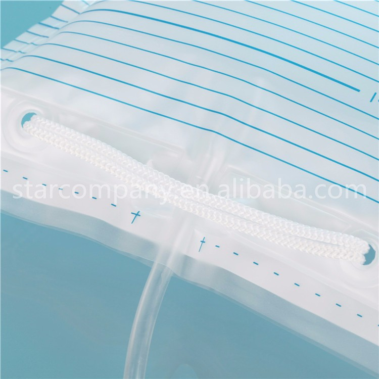 Disposable 2000ml Adult urine bag with outlet