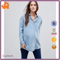 customize long sleeve denim clothing blouse,latest fashion blouse design