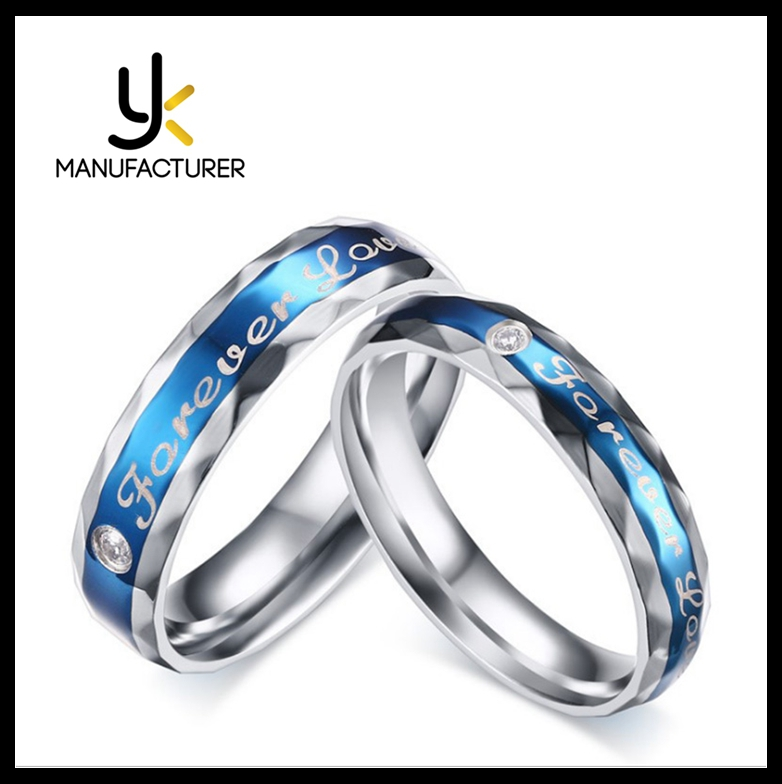 Men And Women Blue Forever Love Stainless Steel Zirconia Stone Couple Rings