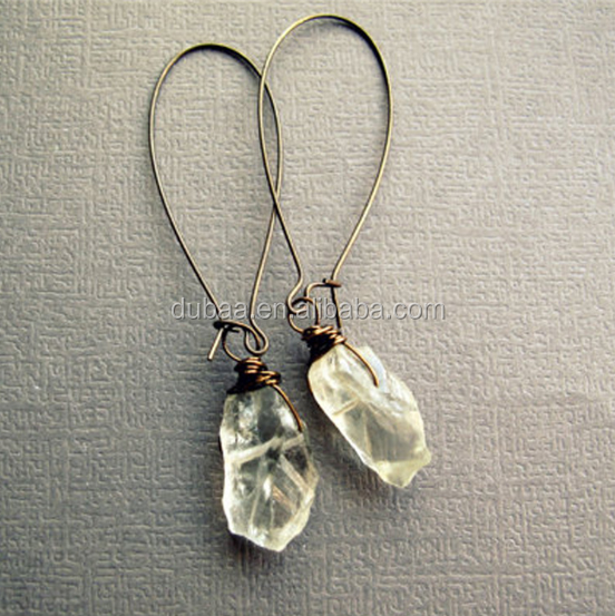 Semi Precious Natural Stone Gemstone Wire Earrings Clear Crystal Stone Pendant Earrings Jewelry