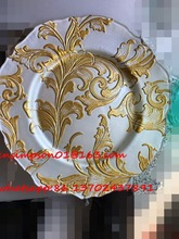 13'' diameter gold glass wedding charger plate