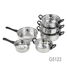 Chinese Supplier Kitchen Ware 12Pcs Stainless Steel Cookware Set with Bakelite Handle