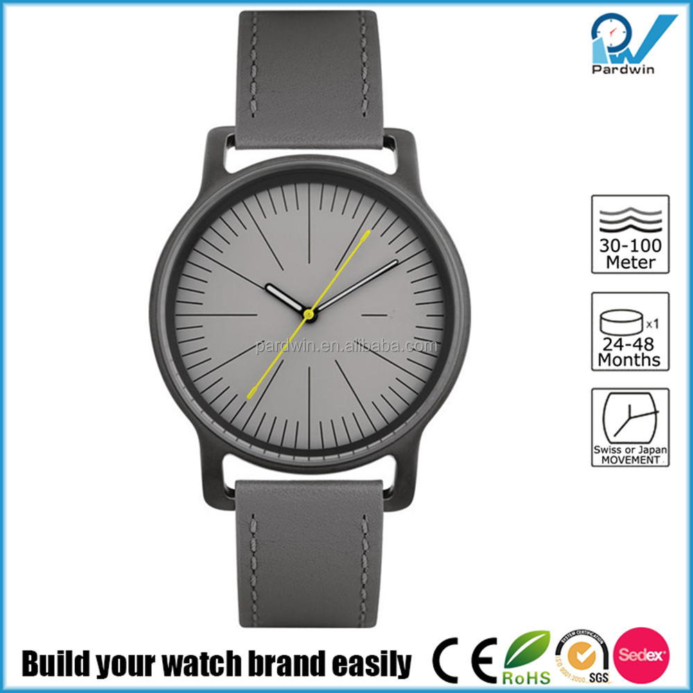 Excellent design wristwatch in 18/10 stainless steel mat with leather strap grey own brand watch