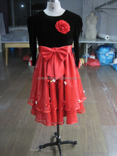 2017 flowers bow black red organza flower girl dress with real photos