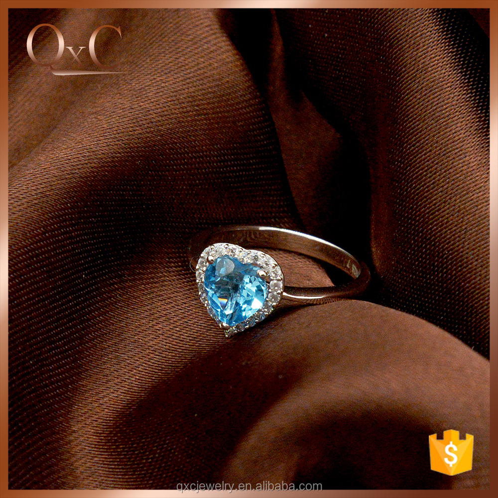Silver Imitation Ring Jewelry Custom Engraved Blue Crystal Heart Ring blue diamond ring
