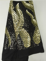 New Arrival Desiging !!! Nigerian Lace Styles French Champagne Gold/Black African Sequin Tulle Fabaric For Fashion Evening Gown