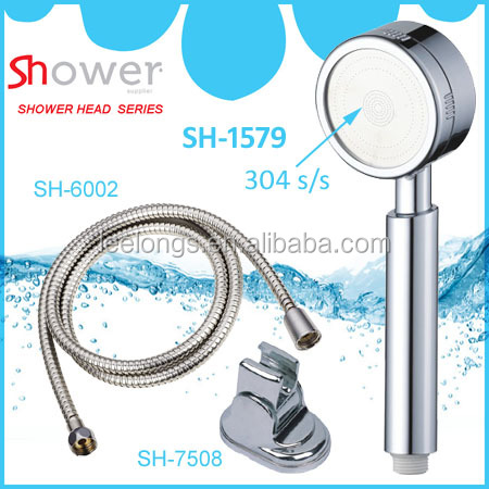 Good ABS chrome plated water outlet shower head filter with shower hose & bracket
