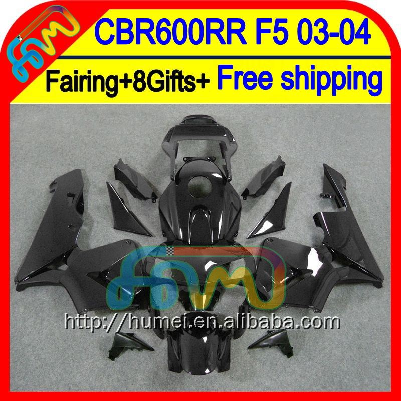 8Gifts Injection ALL Black For HONDA CBR600RR 03-04 F5 50HM35 CBR600 RR CBR 600RR Glossy black 600 RR 03 04 2003 2004 Fairing