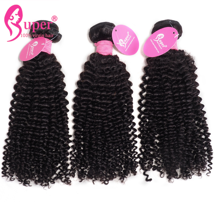 Double Drawn Virgin Brazilian Cuticle Aligned Natural Human Hair Extensions Grade 8 Kinky Curly