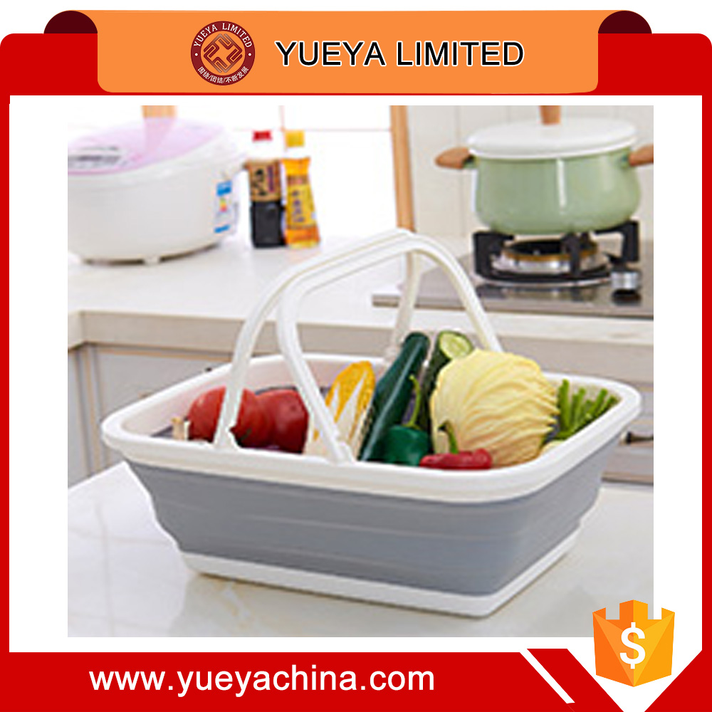 Silicon foldable storage basket laundry shopping picnic fruit bin with handles