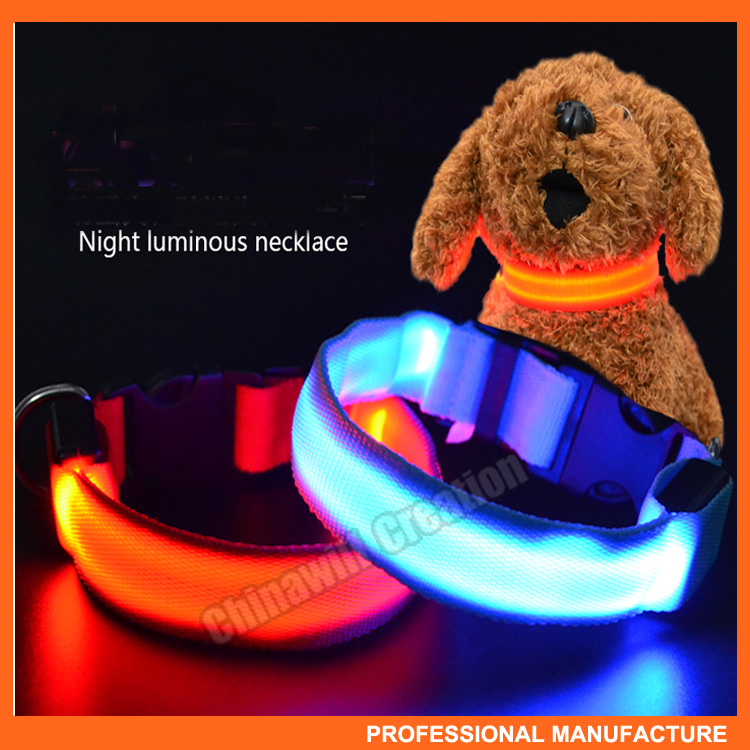 Adjustable S-XL nylon waterproof led dog training collar