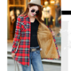 AL2950W New arrival women velvet thick warm female tops winter long blouse checked shirts