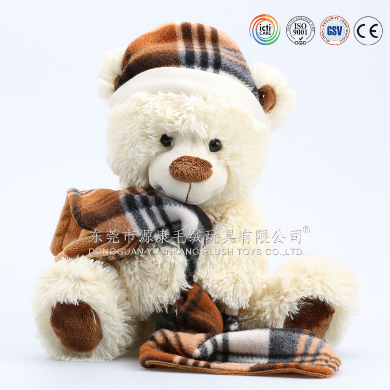 Promotion Mini Jointed Teddy Bear With Scarf and Hat