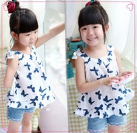2015 Alibaba wholesale Breathable Printed Butterfly baby Girls T-shirt