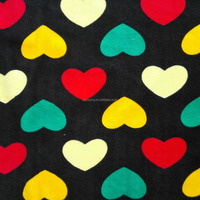 Manufacturers Supply Super Soft Printed Black Ground Heart Micro Velvet fabric for clothes,garment,sofa