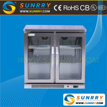 Commercial counter top glass door display refrigerator cabinet for bar
