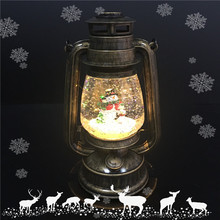 New Design LED Light up Snowman Christmas Lantern Globe with Water