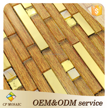 New Design Golden Wall Decoration Electroplating Mixed Stainless Steel Mosaic Tile