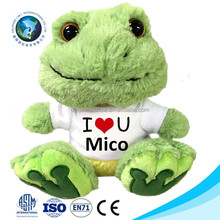 LOW MOQ stuffed animal Plush frog with white t shirts brand LOGO wholesale cute soft green frog plush toy
