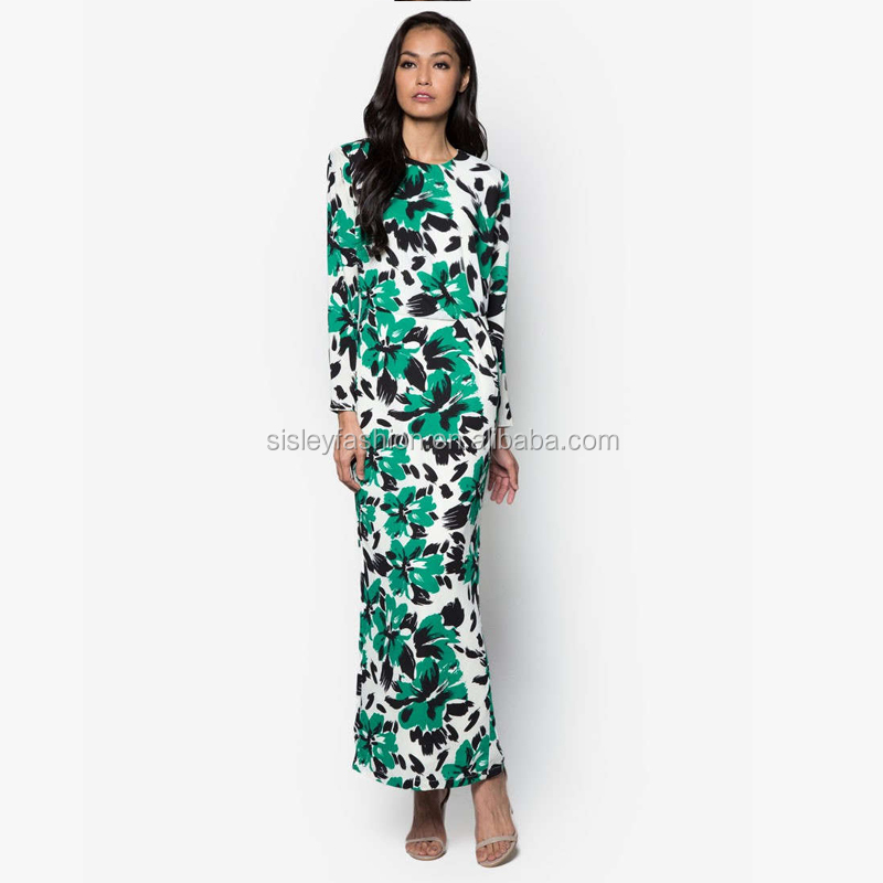 Women printing abaya dubai muslimah dress women islamic clothing