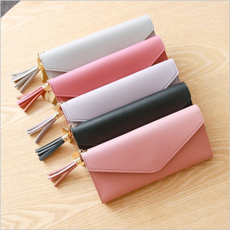 2019 New designs cheap high quality plain custom PU leather <strong>wallet</strong> women