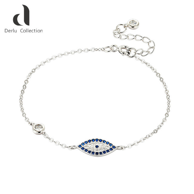 Fashion adjustable charm evil eye jewelry 925 sterling silver bracelet