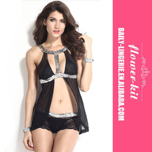 2016 Cheap Hot Sale Ladies Sexy Black Teddy Lingerie Nighty