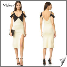 Latest Fashion Without Dress V Neck Backless Sexy Contrast Color Pictures Of Girl's Short Dress