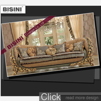 BISINI French Wooden Carved Sofa Set Elegant With House Decoration Design Interior 3D Rendering Services