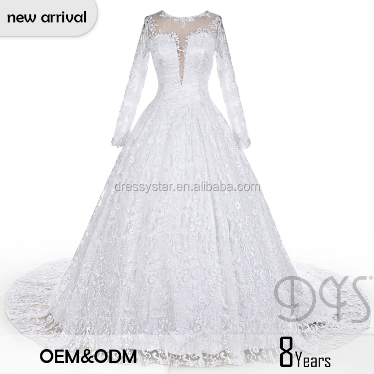 2017 Princess a-line long sleeve transparent embroidery wedding dress with sweep train