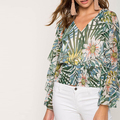 Latest design blouse women ruffle 100% polyester printed blouse