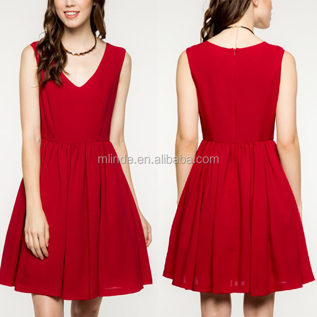 China Clothing Imported Customized 100% Polyester Maroon V Neck Slim Fit Flare Prom Party Sexy Dress Wholesale Fashion Women