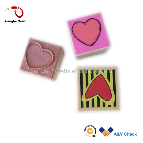 Heart shape rubber stamp wood stamp for kids