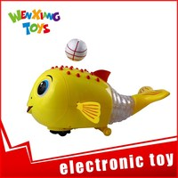child educational learning mechanical fish toy with foam ball