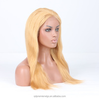 Long honey blonde human hair cosplay full lace wig