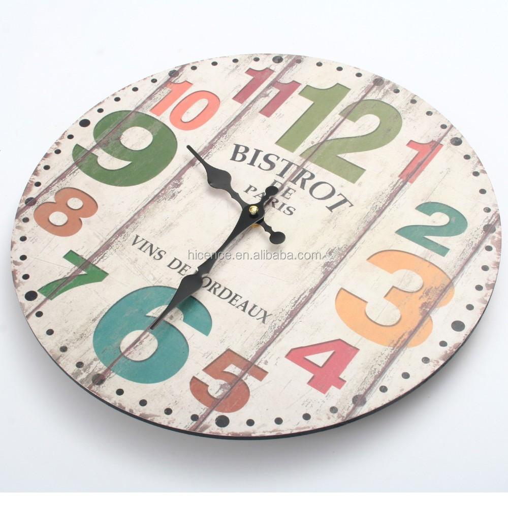 Home Decoration Vintage Antique Wood Wall Clock