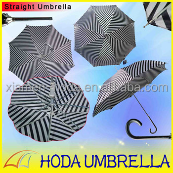 "Sex Stripe Slender 23""*8K Straight Umbrella with Metal Tips Cureved Plastic Handle Girl Straight Rain Umbrella Auto Open"