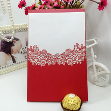 wholesale laser cutting luxurious chinese red pocket fold wedding invitation card