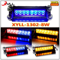 8 LED FLASH DASH STROBE LIGHTS ,RED BLUE LED VISOR WARNING LIGHTS WITH 7 FLASHING PATTERN 12V